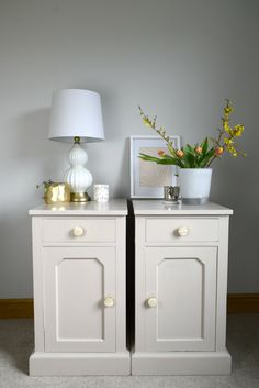 Turning Old and Damaged Bedside Cabinets into Beautiful Pieces using Decoart Satin Enamel Paint in Warm White and Natural Beige.- From Evija with Love