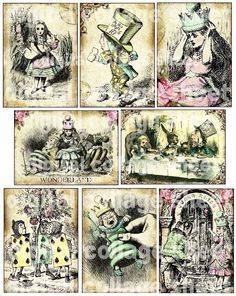 $4.98 for printable Alice in Wonderland collage sheet. Could be used for banners, hang tags, food labels.