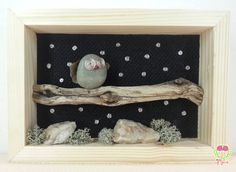 3d picture with owl on a tree in a starry night  #pebbleart #3d #3dart #owls #stones #rock #handmade #green  #cute #owl #driftwood #picture3d #etsy #starrynight #night #stars