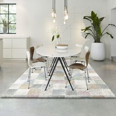 The Mehari rugs feature a stylish graphic design with contrasting colour tones, bringing comfort and style to any room in your home. Pile height and weight of per square metre, a stunning addition to the dinning and kitchen area Dining Room Inspiration, Dining Table, Colour, Graphic Design, Rugs, Stylish, Kitchen, Furniture, Home Decor