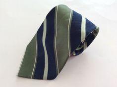 Croft & Barrow Neck Tie Navy Blue Green Striped 100% Silk #CroftBarrow #NeckTie