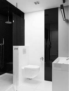 czarno biała łazienka projekt Factory Design, Toilet, Bathtub, Studio, Bathroom Ideas, Standing Bath, Flush Toilet, Bathtubs, Bath Tube