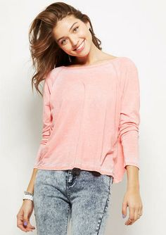 Burnout Twist Back Long-Sleeve - View All Tops - Tops - dELiA*s