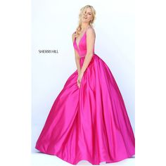 Dark Fuchsia Sherri Hill 50496 Long A Line Homecoming Dress via Polyvore featuring dresses, long day dresses, fuschia pink dress, long length dresses, homecoming dresses and fuschia long dresses