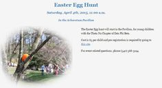 One of the Harrisonburg community's favorite Easter Egg Hunts now is open for registrations! Register here: https://www.surveymonkey.com/s/PWQ28Q2 or Info here: http://www.jmu.edu/arboretum/events.shtml