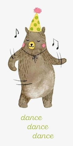 Dancing Bear Watercolor Illustration by Nhung Le for Chic+Nawdie Illustration Mignonne, Children's Book Illustration, Character Illustration, Watercolor Illustration Children, Happy Birthday Illustration, Animal Illustrations, Happy Birthday Art, Birthday Wishes, Happy Birthday Dancing