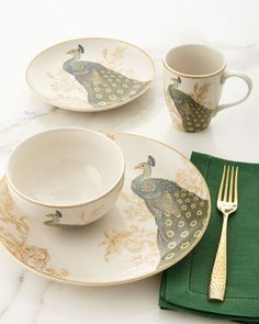 Shop Serene Peacock Dinnerware Service from Neiman Marcus at Horchow, where you'll find new lower shipping on hundreds of home furnishings and gifts. Fine China Dinnerware, Porcelain Dinnerware, Ceramic Tableware, Dinnerware Sets, Kitchenware, White Dinnerware, Vases, Vase Deco, Breakfast Cups