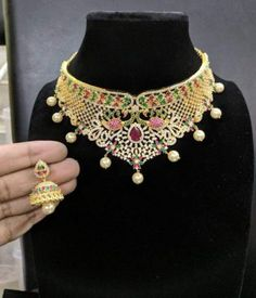 10 Top one gram gold chokers with price. Buy 1 Gram gold chokers necklace with earrings with best price. Check our collections at siri designers 1 Gram Gold Jewellery, Gold Jewellery Design, Gold Jewelry, Jewelery, Fine Jewelry, Gold Choker Necklace, Earrings, Lotus Design, Wholesale Jewelry