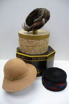 Three hats and 2 hat boxes Vintage Dobbs Dan Fox Chicago Feathers Millinery. $60.00, via Etsy.