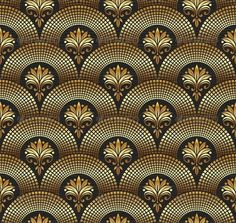Seamless Ornate Golden Pattern by Sergo Motif Art Deco, Art Nouveau Pattern, Art Deco Design, Background Vintage, Art Background, Background Patterns, Papier Peint Art Nouveau, Art Nouveau Wallpaper, Interiores Art Deco