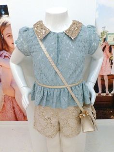 Lace top and shorts for a aseasonal kids party fashion look at Monsoon fall 2014