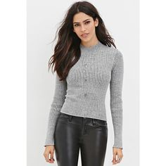 Forever 21 Women's  Cropped Sweater Top ($18) ❤ liked on Polyvore featuring tops, sweaters, forever 21, long sleeve crop top, long sleeve sweaters, pattern sweater and forever 21 sweaters