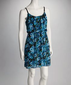 Take a look at this Blue & Green Floral Sleeveless Dress by Bailey Blue on #zulily today!