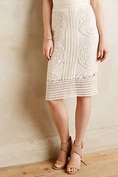 Anthropologie EU Delphina Crochet Pencil Skirt