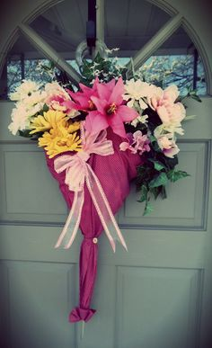 Pink Polka Dot Spring Umbrella Wreath Door Hanger by PlanBBoutique