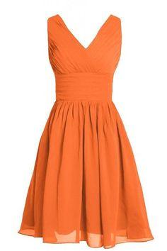 MyProm Women's Straps Short Chiffon Bridesmaid Dress Party Dress Orange XXL