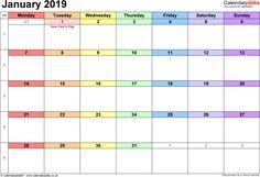54 Best Blank January 2019 Calendar Templates Images On Pinterest