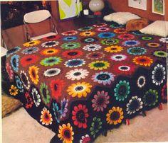 Crochet and arts: Hexagon flower blanket (diagrams)