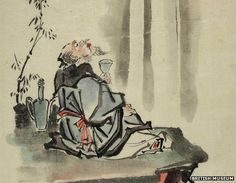 """Li Bai raises glass to the moon : """"Life in the world is but a big dream; I will not spoil it by any labour or care. So saying, I was drunk all the day, lying helpless at the porch in the front of my door. When I awoke, i blinked at the garden-lawn a lonely bird was singing amid the garden flowers I asked myself, had the day been wet or fine?......."""