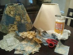 Lampshade makeover ... Mod Podge squares of fabric to a boring lampshade :)