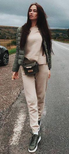 blush and khaki_jacket + bag + sneakers + sweater + pants