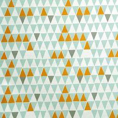 Imprimer des triangles orange gris et zingy contemporain tissu scandinave du turquoise pâle Spira de Suède - Jaffa clair Turquoise,