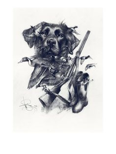 """Graphic drawing """"Oh, my dreams …Labrador"""", Hunting gift, H… – Hunting Ideas Hunting Themes, Hunting Art, Hunting Gifts, Hunting Dogs, Duck Hunting Tattoos, Hunting Drawings, Duck Tattoos, Tatoos, Labrador Golden"""
