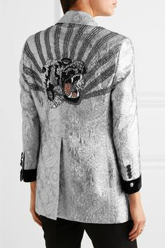 Gucci - Velvet-trimmed Embellished Metallic Brocade Blazer - Silver - IT44