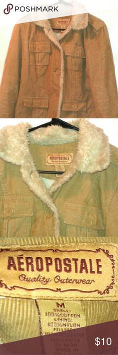 Woman's Medium Aeropostale fur Button up Jacket Like New Aeropostale fur button up jacket underarm to underarm is 19 inches.  All buttons still intact, no stains, rips, marks or any other discrepancies.  Shell is made with 100% Cotton, lining is made with 100% Nylon, and Filling is made with 100% polyester.  Made in Sri Lanka. Aeropostale  Jackets & Coats
