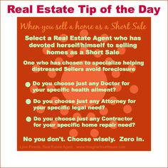 Advise to short sale your home! Tips of the day