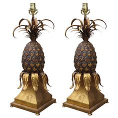 Pair of Mid C Gilt Metal Pineapple Lamps with Original Finish | From a unique collection of antique and modern table lamps at https://www.1stdibs.com/furniture/lighting/table-lamps/