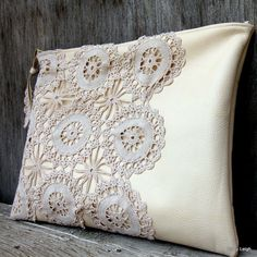 I am in love with this! Leather and Lace Clutch Bag in Cream with Vintage by stacyleigh