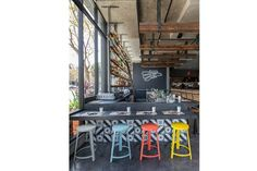 Bandidos, A Sleek Mexican Cantina in the Castro - Eater Inside - Eater SF coloured stools Cafe Bar, Cafe Restaurant, Mexican Restaurant Design, R Cafe, Cafe Shop, Restaurant Interior Design, Modern Restaurant, Mexican Bar, Colorful Restaurant