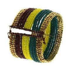 Large bracelet fantaisie à perles - Bangle marron jaune bleu: ShalinCraft: Amazon.fr: Bijoux