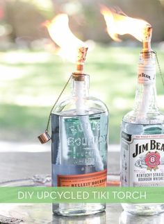 DIY Tiki Torches from Upcycled Glass Bottles | How To Make Awesome Tiki Torches Using Bullet Bottles For Your Next Spring BBQ | Fun & Easy Outdoor Project Ideas By DIY Ready.