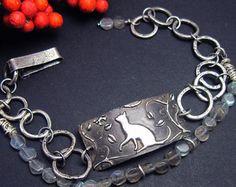 Silver Cat Bracelet with Labradorite Gemstones, Artisan crafted, Cat Jewelry, Original Design by RL Design Studio
