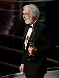 Il regista austriaco Michael Haneke, Oscar per il miglior film straniero con Amour, che già aveva trionfato a Cannes l'anno scorso.