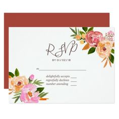 Spring Wedding watercolor flowers RSVP Card - invitations personalize custom special event invitation idea style party card cards