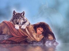 fantasy wolf art wallpaper | girl and wolf - indian, girl, wolf, painting, woman