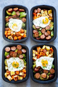 Get breakfast ready the night before with these easy sweet potato sausage veggie and egg Paleo breakfast meal prep bowls Theyre simple complaint dairy free junk free tasty and filling Paleo Meal Prep, Lunch Meal Prep, Meal Prep Bowls, Easy Meal Prep, Paleo Meals, Meal Prep For Dinner, Meal Prep Recipes, Slow Cooker Meal Prep, Paleo Diet