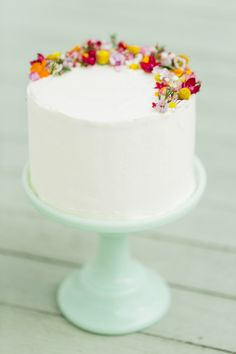 Floral honey cake on green milk glass stand, Helena's Cakes Austin