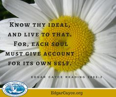 Know thy ideal, and live to that. For, each soul must give account for its own self. #Edgar Cayce reading 2803-2