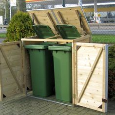 Garbage Can Shed, Garbage Can Storage, Trash Can Storage Outdoor, Outdoor Trash Cans, Shed Storage, Storage Bins, Pool Equipment Cover, Patio Kitchen, Garden Yard Ideas