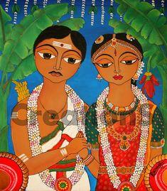 South Indian couple by Rachana Saurabh : CreationS - The Essene of Arts Modern Indian Art, Indian Folk Art, Modern Art, Madhubani Art, Madhubani Painting, Fabric Painting, Painting & Drawing, Indian Art Paintings, Acrylic Paintings