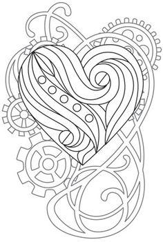 Steampunk Nouveau - Heart design (UTH12036) from UrbanThreads.com