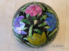Stained glass mosaic garden gazing ball by Thecapricornscompass