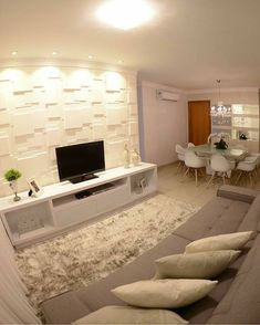 43 Amazing TV Wall Decor Ideas for Living Room Home Living Room, Living Room Designs, Living Room Decor, Deco Design, Design Case, Tv Wanddekor, Tv Wall Decor, Small Apartments, Style At Home