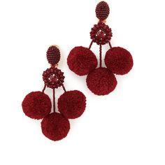 Oscar de la Renta Triple Pom Pom Clip On Earrings (636 AUD) ❤ liked on Polyvore featuring jewelry, earrings, garnet, beaded jewelry, oscar de la renta earrings, poms jewellery, beading jewelry and pom pom jewelry