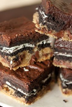slutty brownies-  Brownie on top of Oreos on top of cookie dough. Yes.