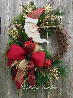 Crescent Santa Grapevine by Holiday Baubles